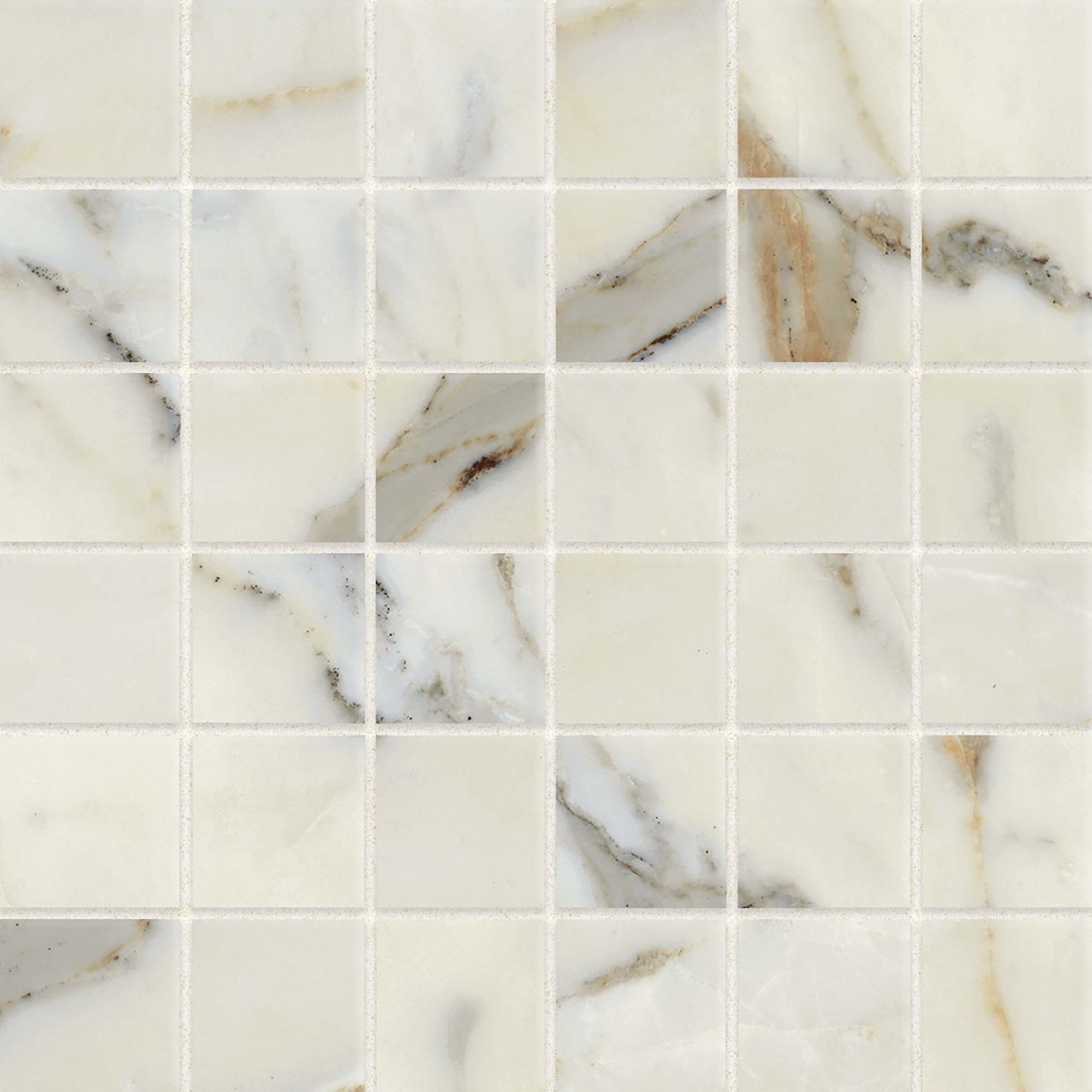 "Classic 2.0 2"" x 2"" Floor & Wall Mosaic in Calacatta Oro"