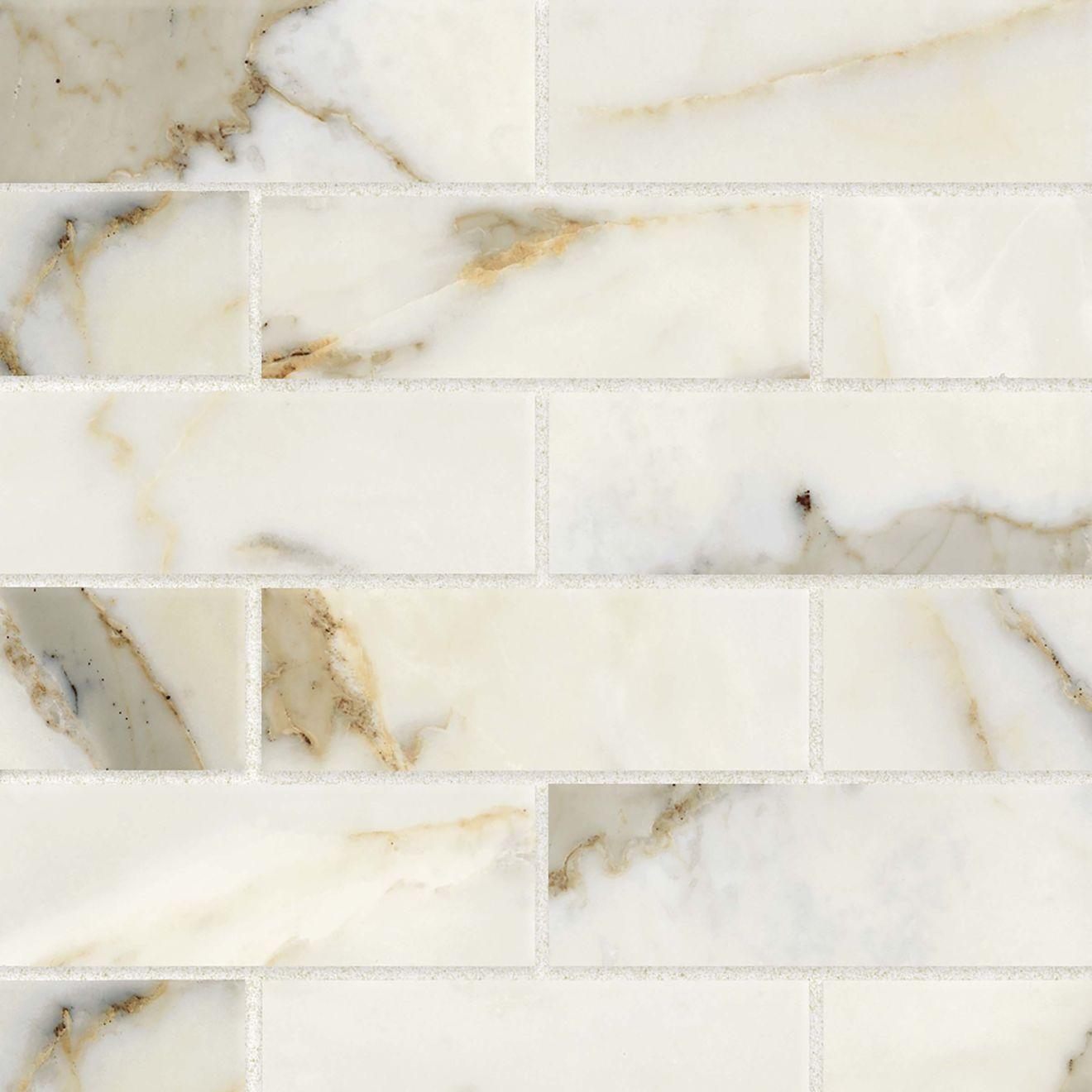 "Classic 2.0 2"" x 6"" Floor & Wall Mosaic in Calacatta Oro"