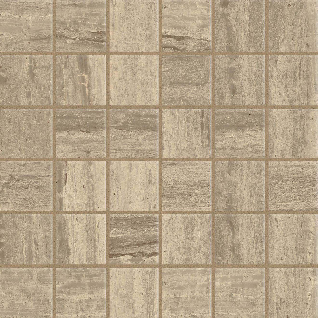 """Classic 2.0 2"""" x 2"""" Floor & Wall Mosaic in Travertino Chiaro"""