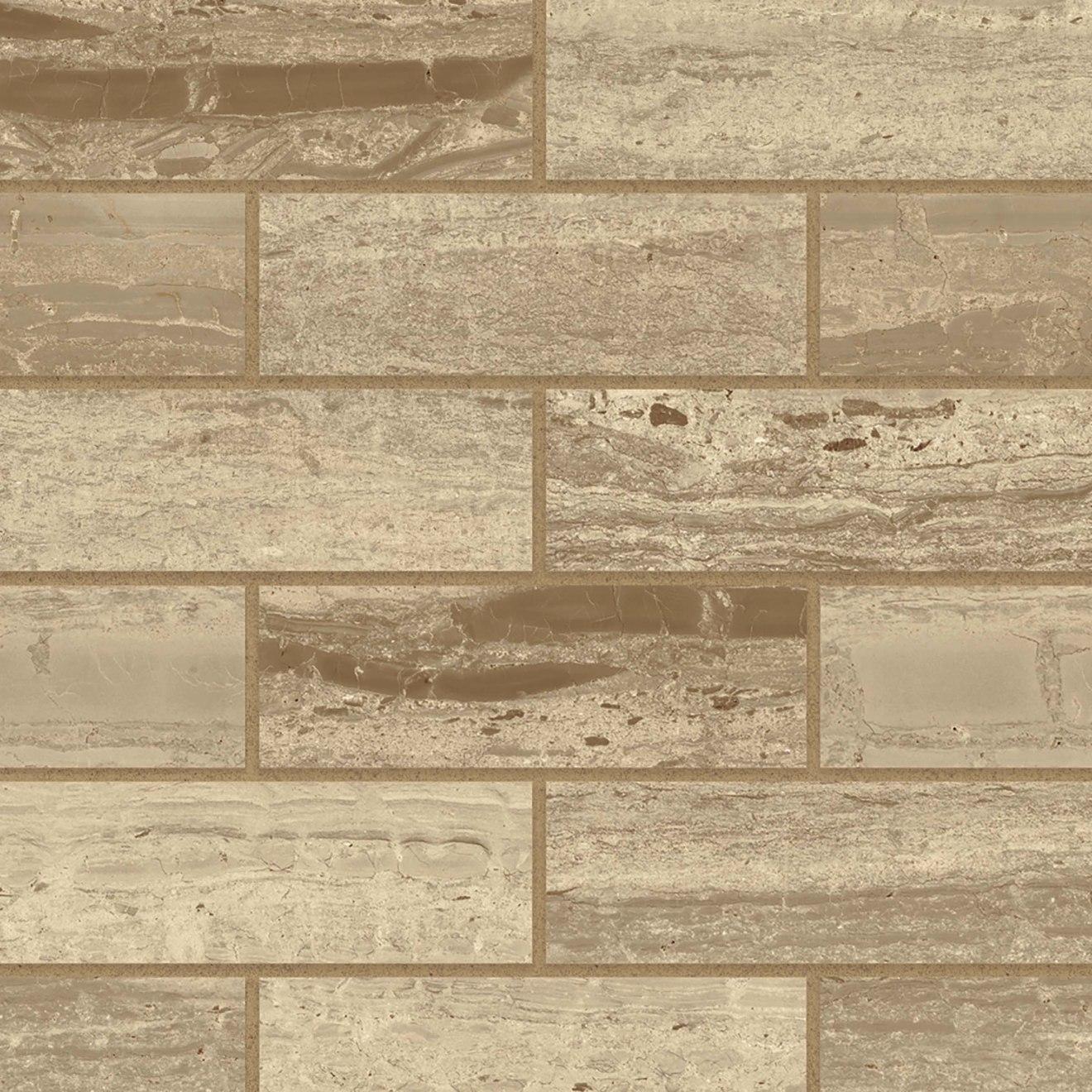 """Classic 2.0 2"""" x 6"""" Floor & Wall Mosaic in Travertino Chiaro"""