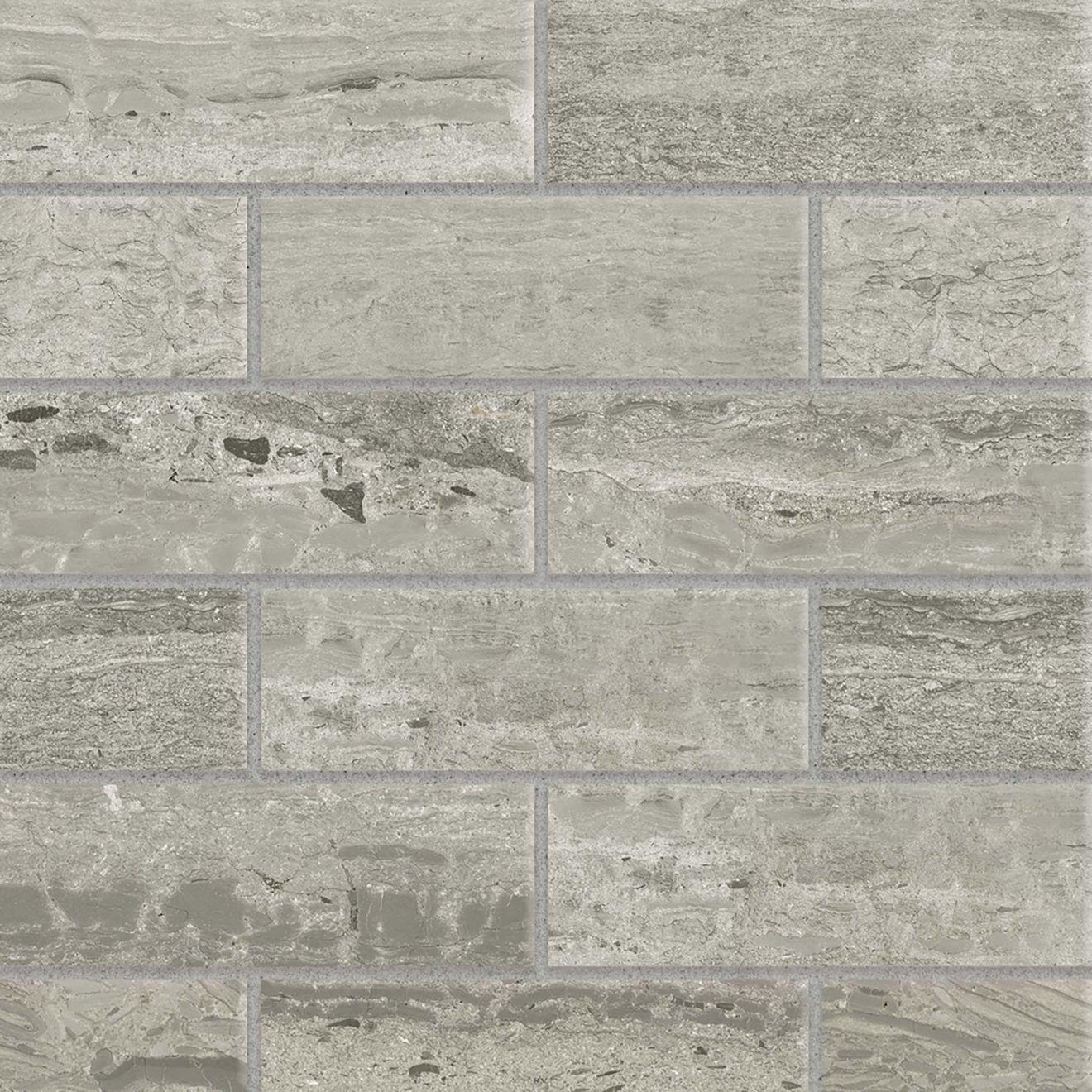 "Classic 2.0 2"" x 6"" Floor & Wall Mosaic in Travertino Grigio"