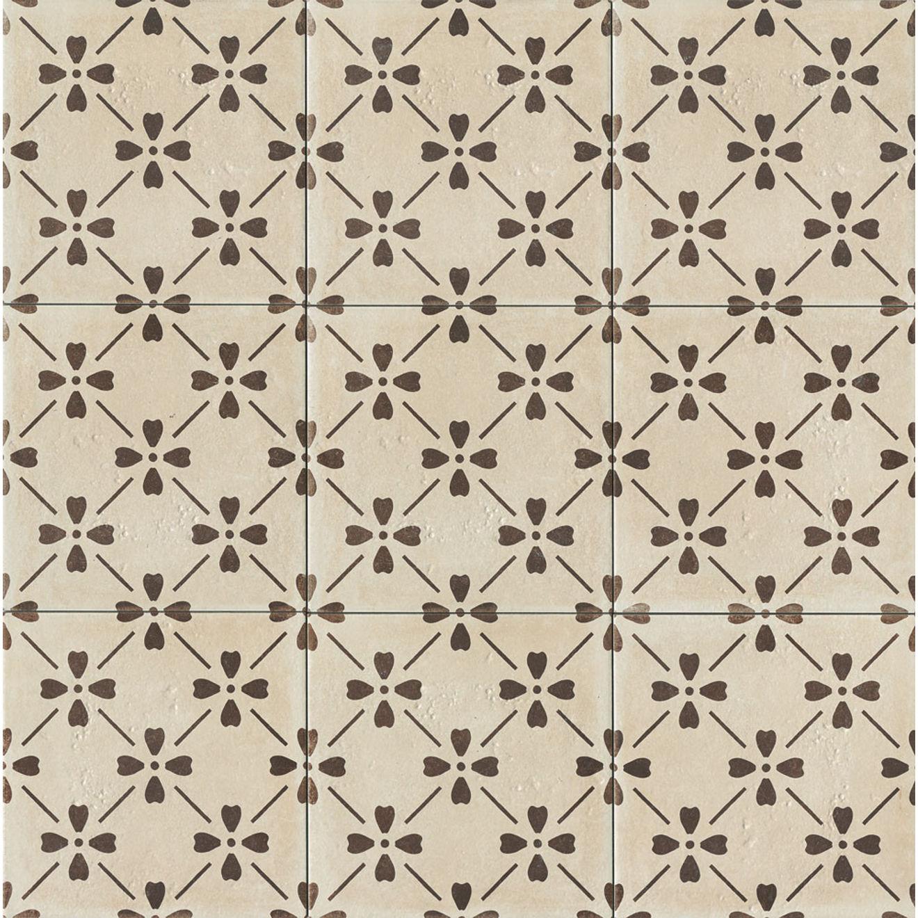 "Palazzo 12"" x 12"" Decorative Tile in Antique Cotto Bloom"