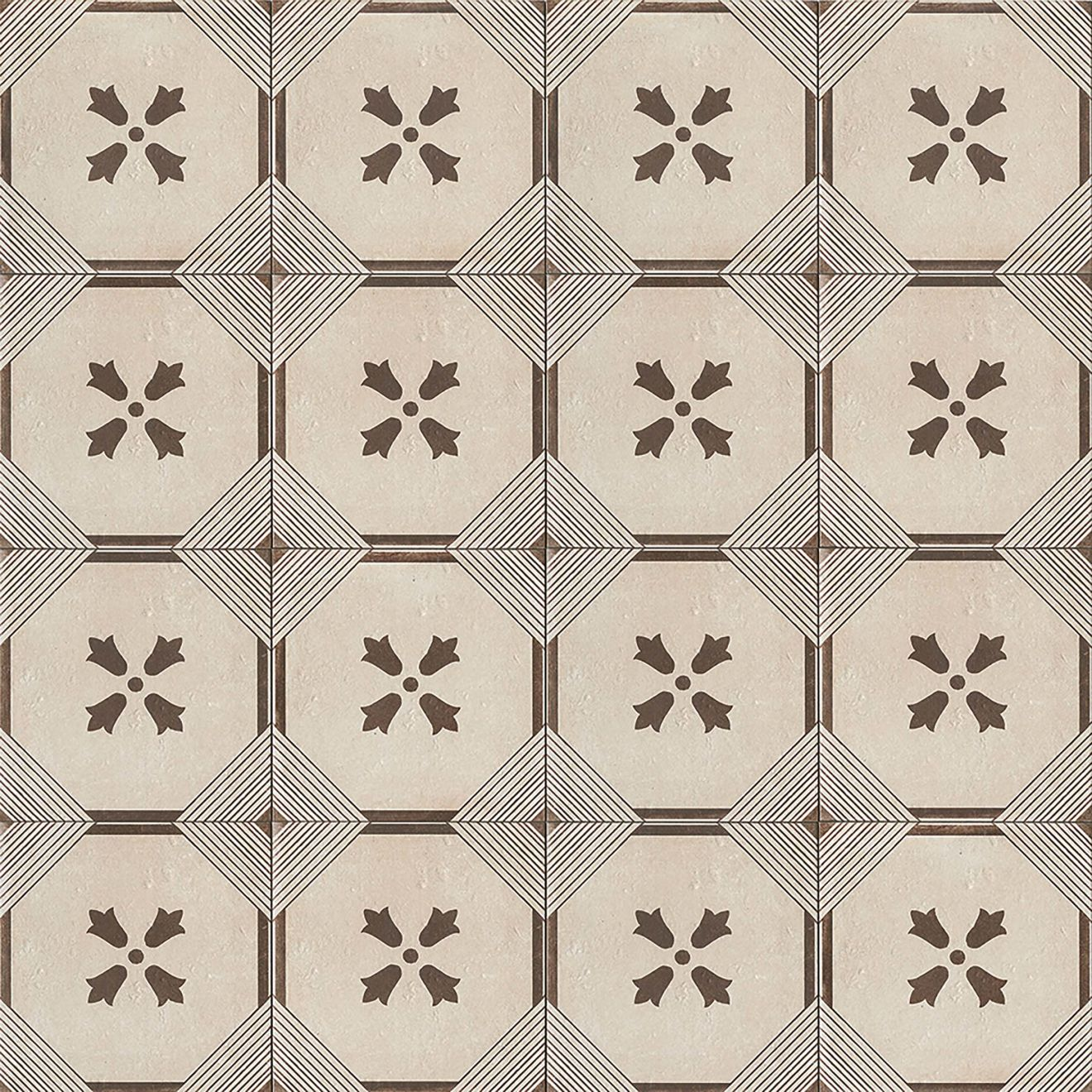 """Palazzo 12"""" x 12"""" Decorative Tile in Antique Cotto Dynasty"""