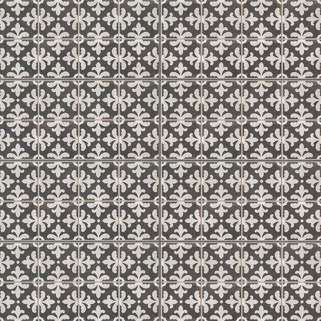 """Palazzo 12"""" x 24"""" Decorative Tile in Castle Graphite Florentina"""