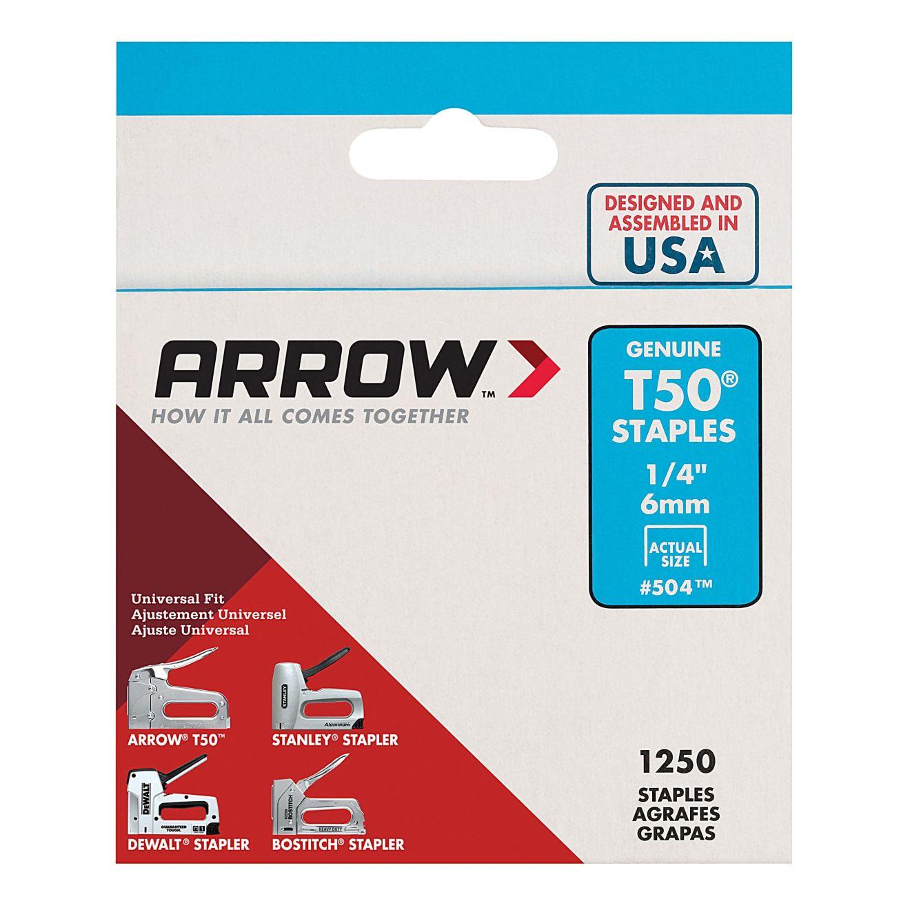 Arrow T50 1/4 in. Staples (1250-Pack)