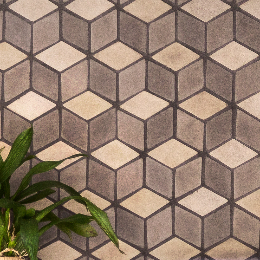Paseo 4x8 Diamond Pattern in Ash, May Gray and White Bread