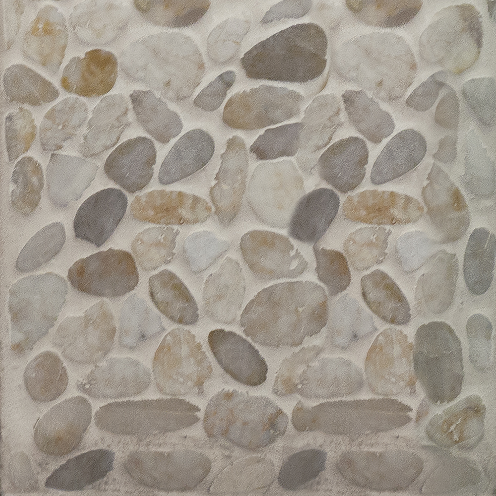 Hemisphere Unglazed Sliced Pebble Mosaic in Antigua