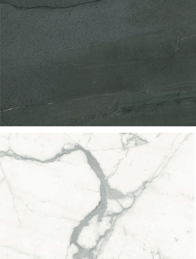 Magnifica Porcelain in Statuario Super White 60x126 and 30x30 and Balsalto 60x120