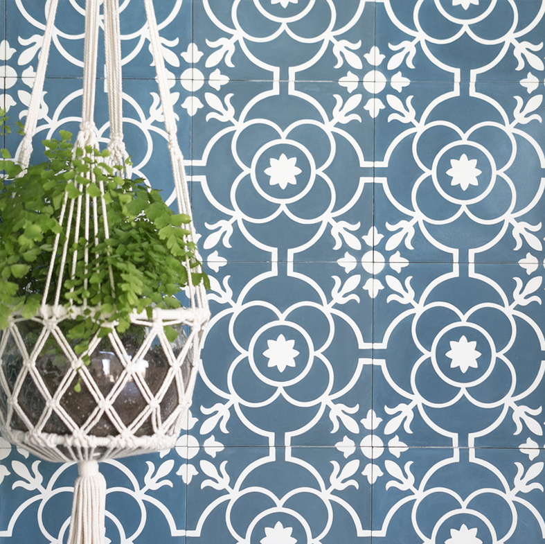 Remy cement tile in Brigette Pattern