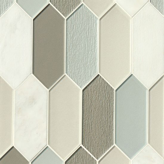 Verve Celestial Palisade Tall Hexagon Stone and Glass Mosaic