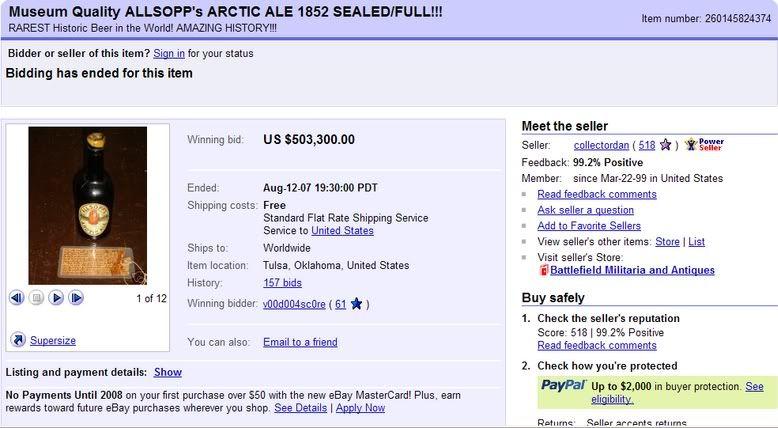 價值1500 萬台幣的Allsopps Arctic Ale
