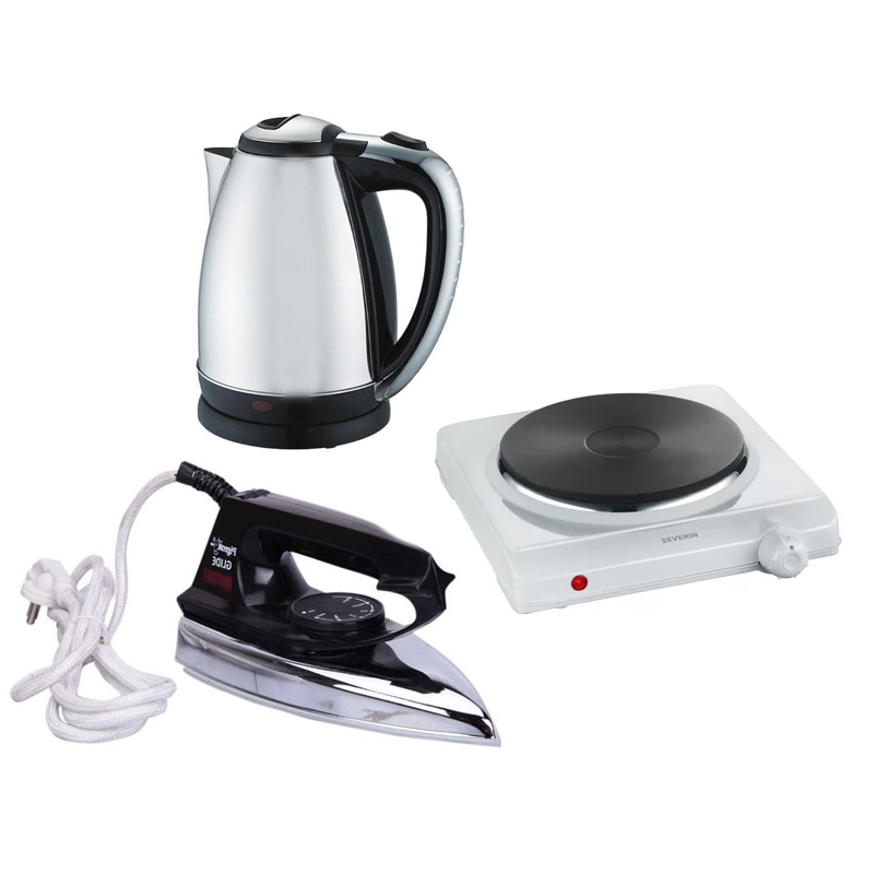 Electric Hot Plate, Kettle & Iron