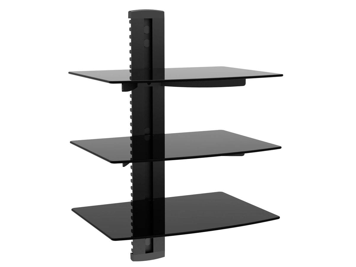 3 Tier Electronic Component Glass Shelf Wall Mount Bracket with Cable Guide