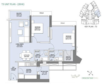 Crescent Bay Parel Floor Plan - T3 (2 BHK)