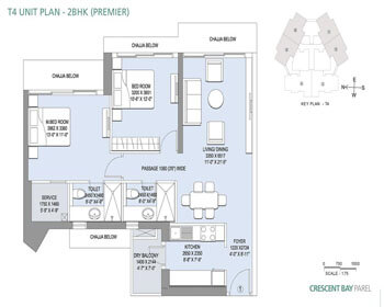 Crescent Bay Parel Floor Plan -T4 (2 BHK Premier)