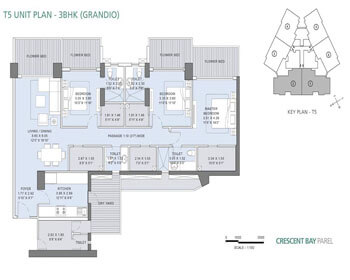 L&T Crescent Bay Parel Floor Plan - T5 (3 BHK) Grandio