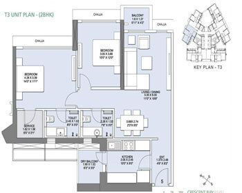 L&T Crescent Bay Parel Floor Plan - T3 (2 BHK)