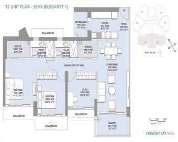L&T Crescent Bay Parel Floor Plan - T2 (3 BHK)