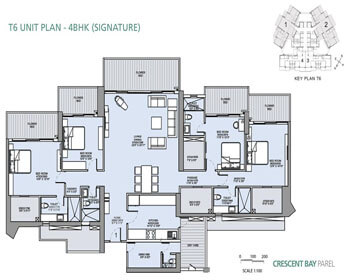 L&T Crescent Bay Parel Floor Plan - T6 (4 BHK) Signature