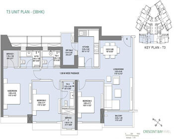 L&T Crescent Bay Parel Floor Plan - T3 (3 BHK)