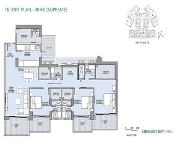 L&T Crescent Bay Parel Floor Plan - T6 (3 BHK)
