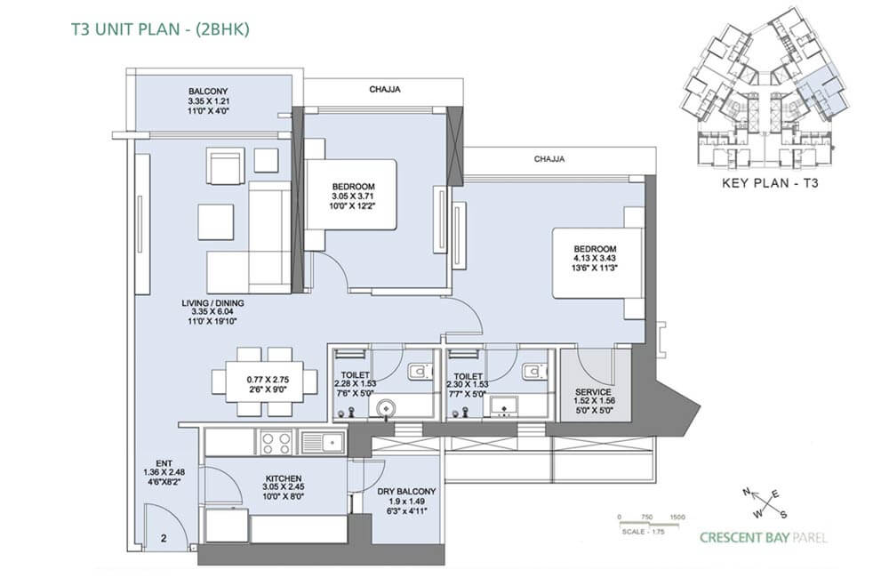 ... Crescent Bay Parel Floor Plan   T3 (2 BHK) ...