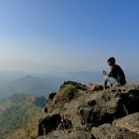 Trek to Takmak Fort - Sandeep and Tiger take a break