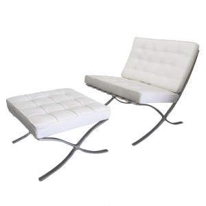Barcelona Chair and Footstool by Mies Van Der Rohe
