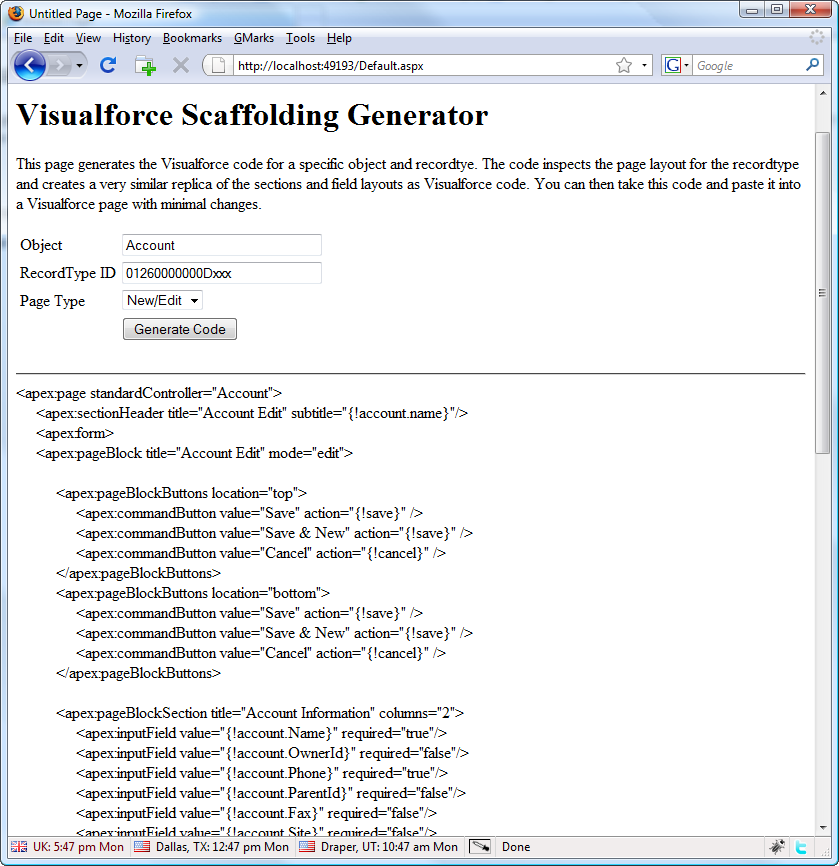 Generate Visualforce Pages