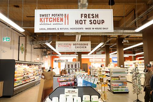 The soup station at Sweet Potato Kitchen.