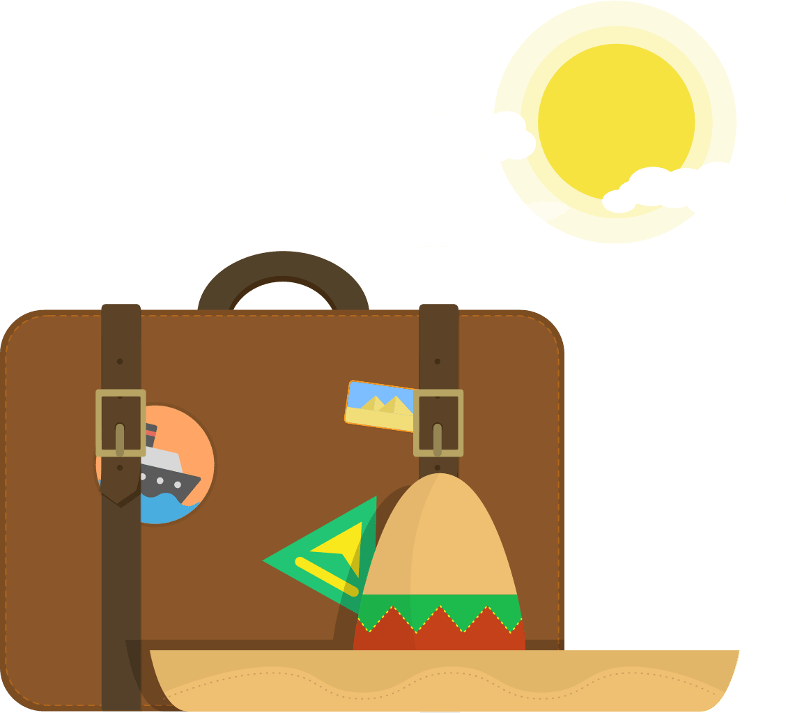 Sombrero and suitcase