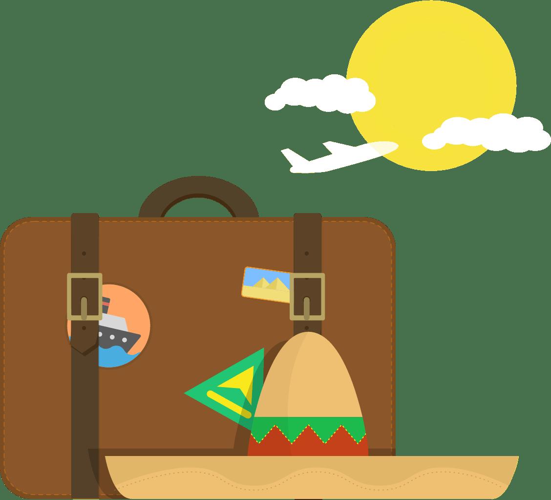 Sombrero and suitcase
