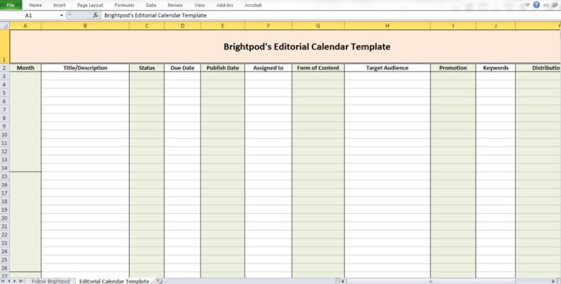 Brightpod's Editorial Calendar Template