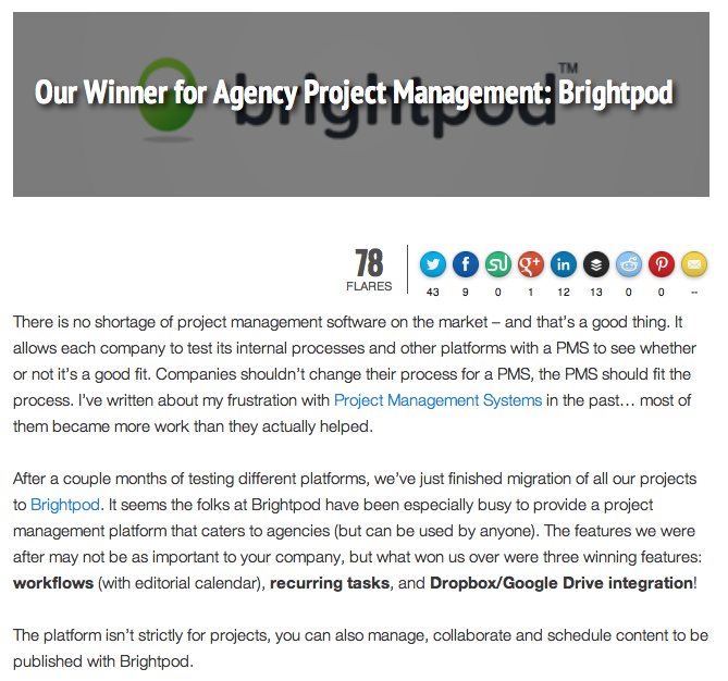 Our Winner for Agency Project Management: Brightpod