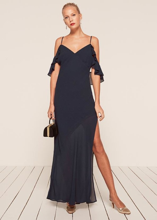 Reformation navy ferrara dress