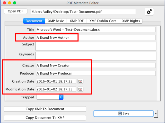 Modified Author and Application Creator
