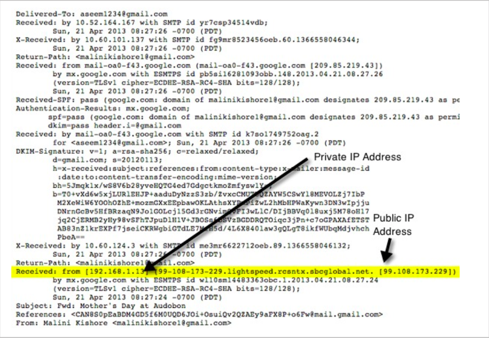 IP Addresses in an Email Header