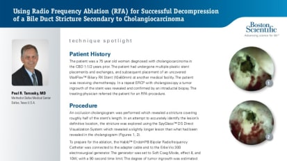 Using RFA for Successful Decompression of a Bile Duct Stricture Secondary to Cholangiocarcinoma, Paul R. Tarnasky, MD