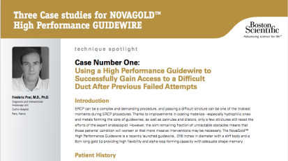 Three Case studies for NOVAGOLD™ High Performance GUIDEWIRE