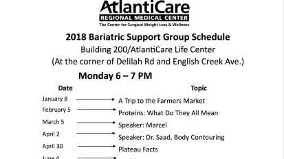 2018 Support Group Schedule
