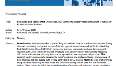 Evaluating end-tidal carbon dioxide (etCO2) monitoring effectiveness during burn wound care in non-intubated patients