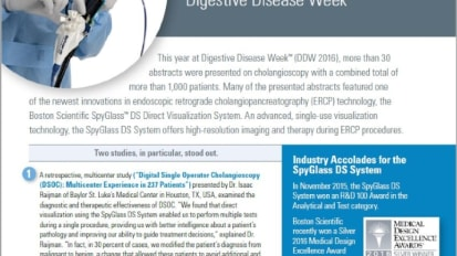 Compelling Clinical Data Presented on Cholangioscopy at Digestive Disease Week™