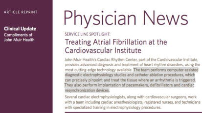 Physician News: Treating Atrial Fibrillation at the Cardiovascular Institute