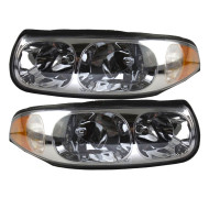 Picture of 00 Buick LeSabre Limited New Pair Set Headlight Headlamp Lens Housing with Smooth High Beam