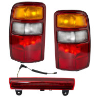 Picture of 00-03 Chevrolet Suburban Tahoe GMC Yukon & XL New 3 Piece Set 3rd Brake CHMSL Light & Taillight with Red Housing