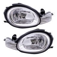 Picture of 00-02 Dodge Neon New Pair Set Headlight Headlamp Assembly w/ Chrome Bezel & Rubber Gasket DOT