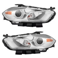 Picture of 13-14 Dodge Dart New Pair Set Halogen Headlight Headlamp Lens Housing  with Chrome Trim Assembly DOT