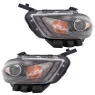 Picture of 13-14 Dodge Dart New Pair Set Halogen Headlight Headlamp Lens with Black Trim Housing Assembly DOT