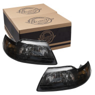 Picture of 01-04 Ford Mustang New Pair Set Headlight Headlamp Assembly w/ Smoked Lens SAE & DOT