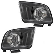 Picture of 05-06 Ford Mustang New Pair Set Headlight Headlamp Lens Housing Assembly SAE DOT